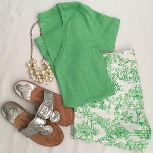 J. Crew Vintage Cotton Bright Green V-neck Tee